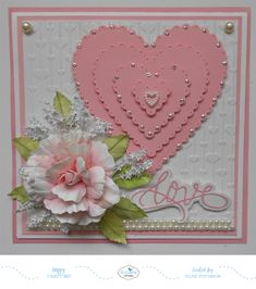 This card designed using Elizabeth Craft Designs Dotted Scalloped Hearts, Susan's Garden Rose 1, and A Way With Words Sentiment.  All the details are on my blog:  http://selmasstampingcorner.blogspot.com/2018/01/love.html