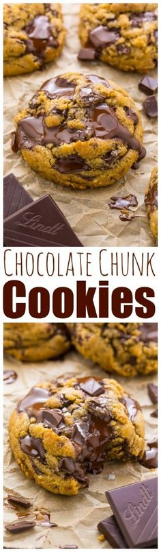 Ever Chocolate Chunk Cookies Holy YUM these are the best chocolate chunk cookies ever! You've gotta try this recipe.Holy YUM these are the best chocolate chunk cookies ever! You've gotta try this recipe. Cookie Desserts, Just Desserts, Cookie Recipes, Delicious Desserts, Yummy Food, Chocolate Chunk Cookies, Melted Chocolate, Chocolate Chips, Snacks Für Party