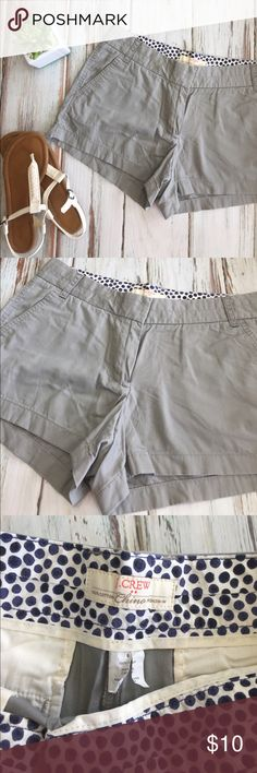 J.Crew Gray Cotton Chino Shorts Like-new condition, size 8. 100% cotton broken-in chino. 3 inch inseam, pockets in front and back. Make me an offer! Old Navy Shorts