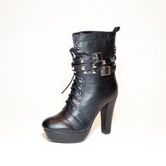 Rowena!   This ankle #boot has a bold moto chic design that is perfect for the fearless fashionista. With a stylish mix of accents from lace-up to studded straps, this creates the perfect statement bootie.  Find Rowena at www.steam-boots.ca