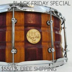 BLACK FRIDAY SPECIAL: 14x7 contoured cherry and purpleheart stave snare drum by #hhgdrums -2.3mm triple flange hoops -trick strainer -30 strand wires The sticker price on this snare is $800, snag it up for $550 until Friday at midnight  DM or hhgdrums1@gmail.com for purchasing details  #drums #drummer #drummimg #blackfriday #sale