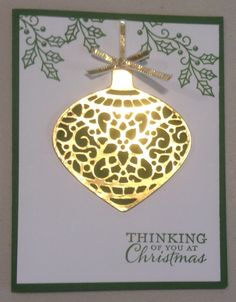 Cynthia McQueen-The Paper Queen Stampin Up Embellished Ornaments, Delicate Ornaments Thinlits, Gold Foil