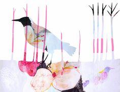 the messenger by dansedelune, bird, watercolor.