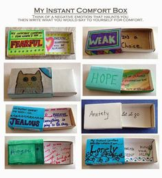 Art Therapy Idea of the Day: Matchbox Worries/Comfort Box via Connecticut Counseling Association- an intervention that is compact and carried around in your pocket. Get a matchbox or other small container.Sometimes it is better to put the negative emotion in the box and the healing message on the outside-- try it that way or reverse it so that the healing message is on the inside. Use drawing materials, include collage, beads and embellishments. Carry your comfort with you for when you need…