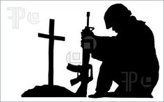 Picture of silhouette of a soldier kneeling next to the grave of a friend stock photo, images and stock photography. Soldier Silhouette, Silhouette Clip Art, Animal Drawings, My Drawings, Ww1 Art, Military Signs, Anzac Day, Animal Jam, Remembrance Day