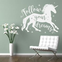 Your wall sticker will be custom made in the UK using premium matt vinyl, contour cut, without transparent or white edges and comes with a 5 year guarantee. Nursery Wall Stickers, Childrens Wall Stickers, Wall Decals, Unicorn Wall Decal, Unicorn Quotes, Portrait Wall, Beautiful Unicorn, Star Wall, Dream Wall