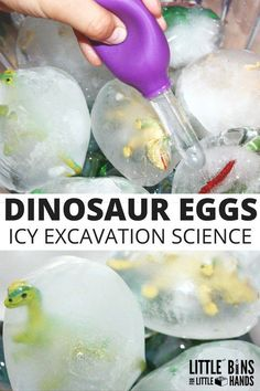 Or use birds Frozen dinosaur eggs ice science excavation activity for kids! Preschool science with a fun dinosaur activity using plastic dinosaurs and balloons. Engage kids with hands on water science activities that are playful. Kid Science, Science For Toddlers, Kindergarten Science Experiments, Stem Science, Science Ideas, Montessori Science, Easy Science Experiments, Stem Activities, Learning Activities
