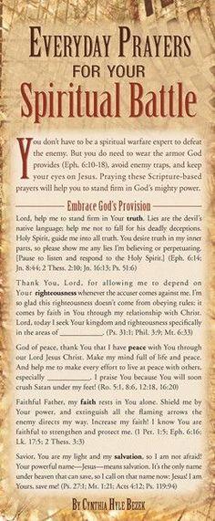 Everyday Prayers for Your Spiritual Battle (Prayer Cards) Prayer Times, Prayer Scriptures, Bible Prayers, Faith Prayer, Prayer Quotes, Deliverance Prayers, Hebrew Prayers, Catholic Prayers, God Prayer