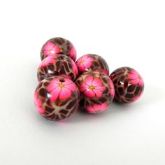 6 Round Handmade Polymer Clay Beads  Pink Flowers on by LavaGifts, $12.00