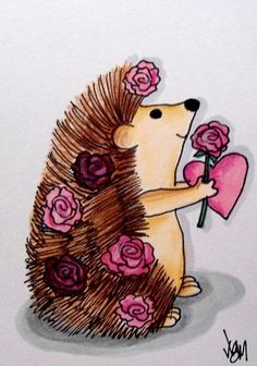 "Aceo Original ""HEDGEHOG AND ROSES"" pencil/ink #OutsiderArt"
