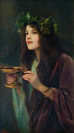 "Author Beatrice Offor - ""Circe"", 1911 Circe {minor goddess of magic/sorceress} daughter of sun-god Helios and oceanid Perse. Classical Art, Fine Art, Renaissance Art, Art Plastique, Beautiful Paintings, Classic Paintings, Oeuvre D'art, Art Inspo, Painting & Drawing"