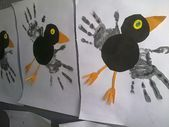 Top 40 Examples for Handmade Paper Events - Everything About Kindergarten Easy Crafts For Kids, Toddler Crafts, Toddler Activities, Diy For Kids, Bird Crafts, Paper Crafts, Fingerprint Art, Serpentina, Footprint Crafts
