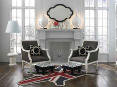 This Jonathan Adler Union Jack zebra rug looks awesome!