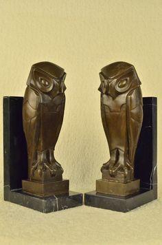 "Art Deco Bronze Owl Bookend Sculpture 14"" x 7"" (PAIR)"