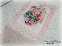 Guest towel Victorian pink roses bouquet