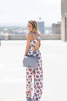 Free People floral jumpsuit, CHANEL Boy bag #StreetStyle