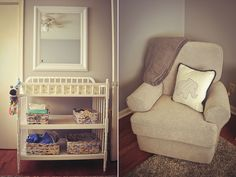 grey gray and yellow nursery baby boy  jenny lind changing table, upholstered glider by Best Chairs, Inc.