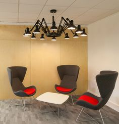 We worked with Worldpay to design and refurbish their office in Gateshead. Office Lamp, Office Chairs, Room Chairs, Red And Grey, Dark Grey, Grey Office, Meeting Rooms, Black Chandelier, Office Spaces