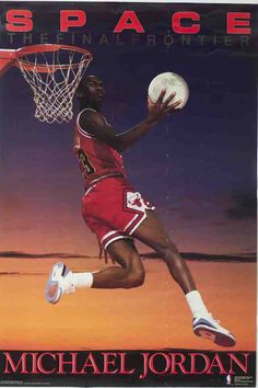 Michael Jordan slam-dunks the moon in this classic poster from the Costacos Brothers