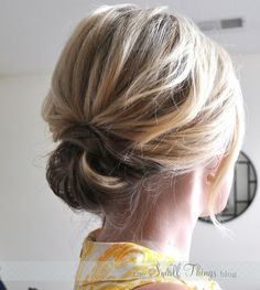 updo for short hair. Super cute!