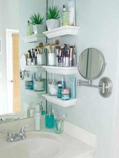 Small shelves next to mirror
