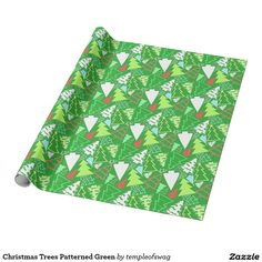 Christmas Trees Patterned Green Wrapping Paper