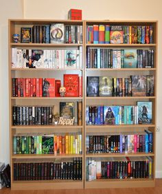 """boneseasonofglass: """" Had to move my bookshelves because the floor is uneven in my room -_- In also re-arranged them slightly :) """""""