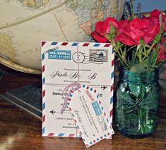 Travel Themed Bridal Shower DIY Invitations