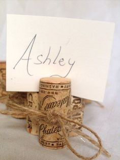 Wine Cork Place Card Holders weddings events food labels by angel9, $22.50