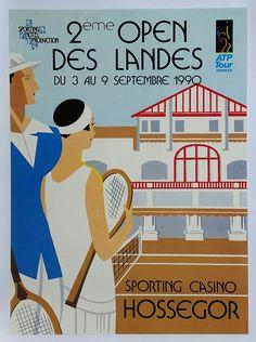 Original+vintage+poster+Tennis+ATP+Tour+Sporting+Casino+Hossegor+2ème+open+des+Landes+1990