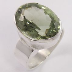 925 Sterling Silver Stunning Ring Size US 8 Natural GREEN AMETHYST Oval Gemstone #Unbranded