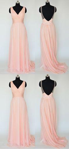 Pink Long Chiffon Bridesmaid Dresses, V-neck Bridesmaid Gowns, Sexy Backless Bridesmaid Dresses with Soft Pleats, #01012867