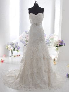 Chic Trumpet-Mermaid Sweetheart Dropped Train Lace Ivory Sleeveless Lace up-corest Wholesale Wedding Dress with Tiered B12103