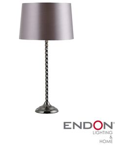 Endon Novello Black Chrome Table Lamp With Twisted Base And Dark Grey Faux Silk Shade