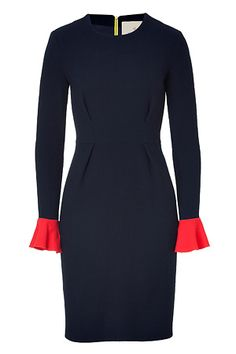 Love the pop of color at the wrist as well as the contrast zip on the back.   STYLEBOP.com | NavyandRedColorblockWoolCrepeDressbyROKSANDAILINCIC | the latest trends from the capitals of the world