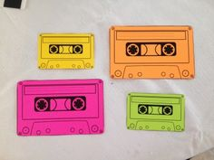 80s themed 30th Birthday Party; DIY Neon Card Stock Cassette Tape Labels sometimeskatie.wordpress.com