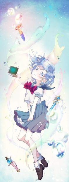 Sailor Mercury by うー via http://www.pixiv.net/member_illust.php?id=2316985