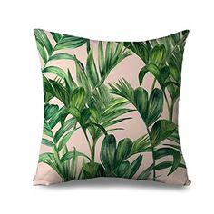 Palmera Manta fundas de almohada para sofá Lienzo con cremallera cojín verde Tropical Swaying Palmeras Funda de almohada para el hogar decorativo 18x 18pulgadas almohada sofá, tela, Colour 1, 18x18