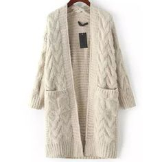 SheIn(sheinside) Grey Long Sleeve Cable Knit Pockets Cardigan