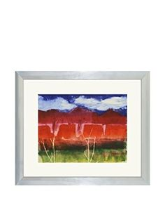 Aviva Stanoff One-of-a-Kind Handpainted Blue, Red & Green Framed Lithograph