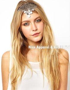 12pcs/lot Free Shipping Bohemian Shining Scale Forehead Sequins Tassels Elastic Headpiece Headband Hair Accessories