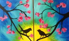 Looking for a perfect date night? Come paint on separate canvases and create one large painting! #birds
