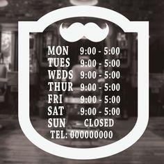 My future salon Barber Shop Opening Times Decal Sticker, shop window sign, Bar/Club/Pub/Office/Barbers opening times window sign decal Deutsch Entsche. Barber Shop Interior, Barber Shop Decor, Hair Salon Interior, Barber Poster, Best Barber Shop, Hair Salon Names, Barber Haircuts, Barbershop Design, Shopping