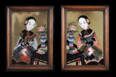 A Pair of Chinese Export Reverse Paintings On Glass - Hyde Park Antiques, Ltd.