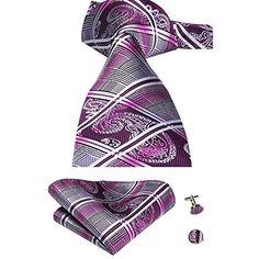 dd545825023f4 Hi-Tie Ensemble 3pièces en soie ornées dun motif cachemire jacquard pour  homme comprend une cravate un mouchoir et des boutons de manchette #cravates  ...