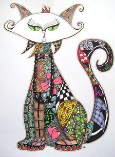 Zentangle cat for a friend's business logo.