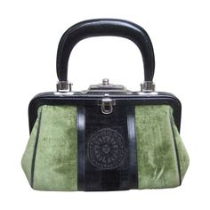 Roberta Di Camerino Moss Green & Ebony Velvet Handbag Made in Italy | From a collection of rare vintage top handle bags at https://www.1stdibs.com/fashion/handbags-purses-bags/top-handle-bags/