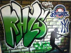 children / teen / Kids Bedroom Graffiti mural - #handpainted #graffiti #featurewall #design #graffitibedroom #interior #design #abstract #bedroommural #boysbedroom #bedroomideas #handpainted #bedroom #baseball