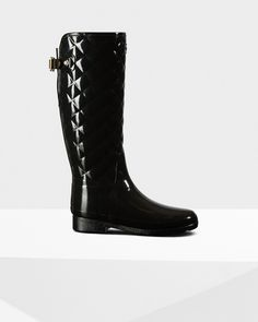 1d1c90b38bddb4 A quilted rain boot in waterproof rubber Black Wellington Boots