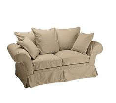 Charleston Slipcovered Love Seat, Polyester Wrapped Cushions, Twill Walnut